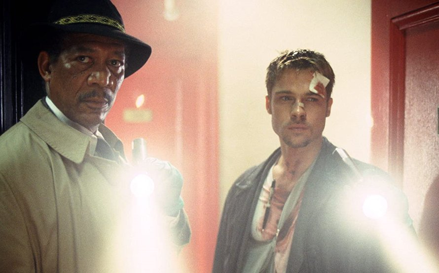 Morgan Freeman en Brad Pitt in Seven van David Fincher