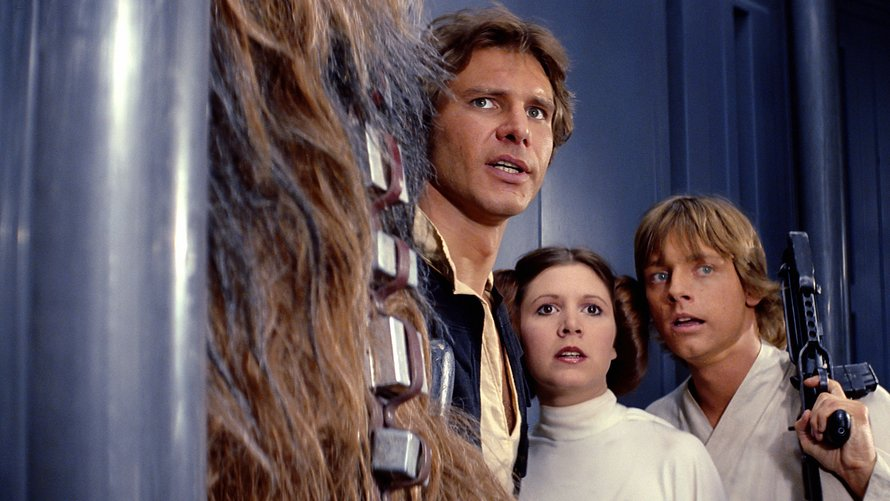 Harrison Ford, Carrie Fisher en Mark Hamill in Star Wars: A New Hope