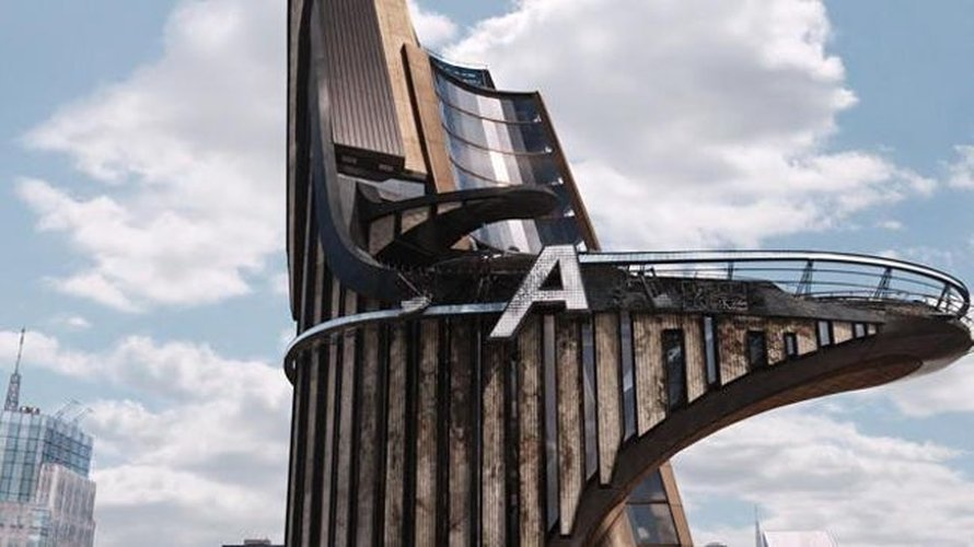 De Stark Tower die veranderd in de Avengers Tower